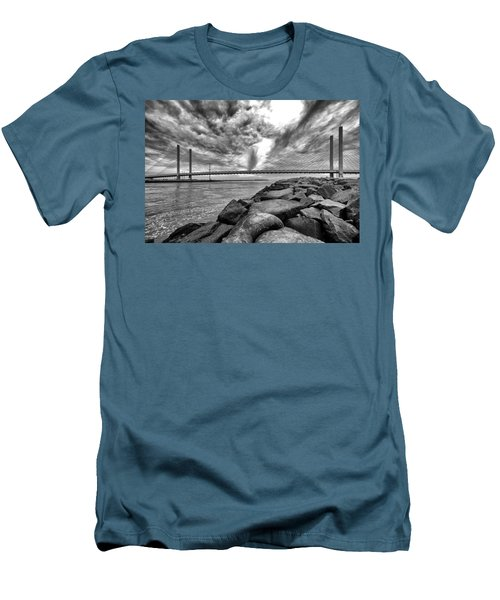 Indian River Bridge Clouds Black And White Men's T-Shirt (Athletic Fit)
