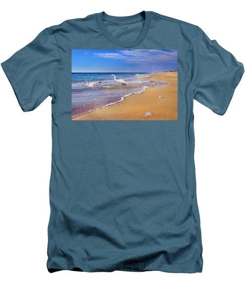 Inspiring Ibis Egret Sandpiper Starfish Sand Dollars  Men's T-Shirt (Athletic Fit)