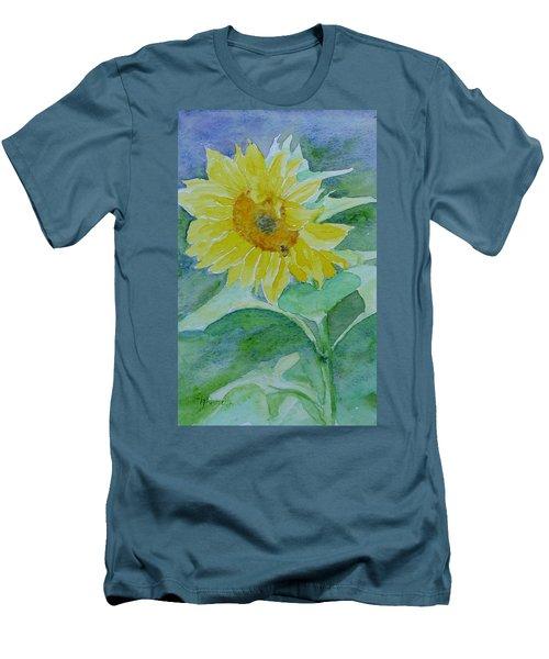 Inviting Sunflower Small Sunflower Art Men's T-Shirt (Slim Fit) by Elizabeth Sawyer