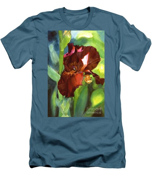 Watercolor Of A Tall Bearded Iris In Sienna Red Men's T-Shirt (Athletic Fit)