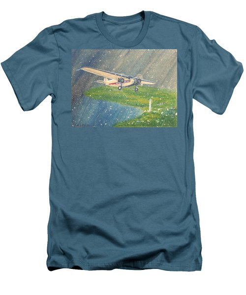 Island Airlines Ford Trimotor Over Put-in-bay In The Winter Men's T-Shirt (Slim Fit) by Frank Hunter