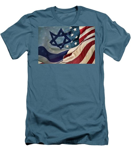 Israeli American Flags Men's T-Shirt (Athletic Fit)