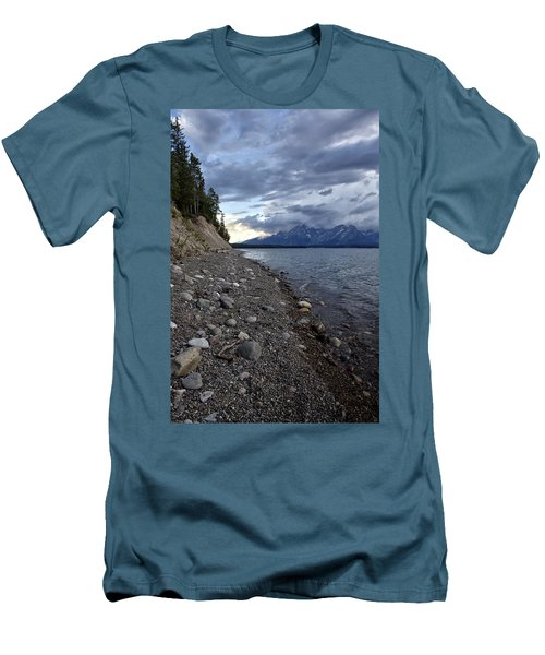 Men's T-Shirt (Slim Fit) featuring the photograph Jackson Lake Shore With Grand Tetons by Belinda Greb