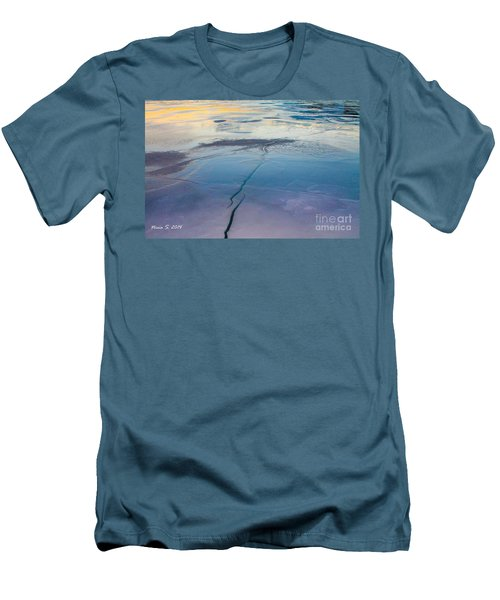 Men's T-Shirt (Slim Fit) featuring the photograph January Sunset On A Frozen Lake by Nina Silver