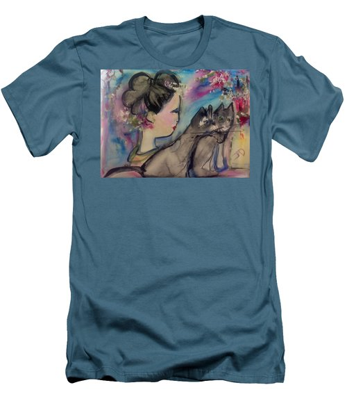 Japanese Lady And Felines Men's T-Shirt (Athletic Fit)