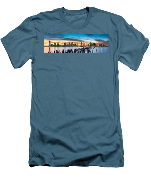 Jersey City Panorama At Sunset Men's T-Shirt (Athletic Fit)