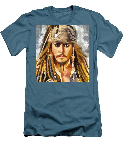 Men's T-Shirt (Slim Fit) featuring the painting Johnny Depp Jack Sparrow Actor by Georgi Dimitrov
