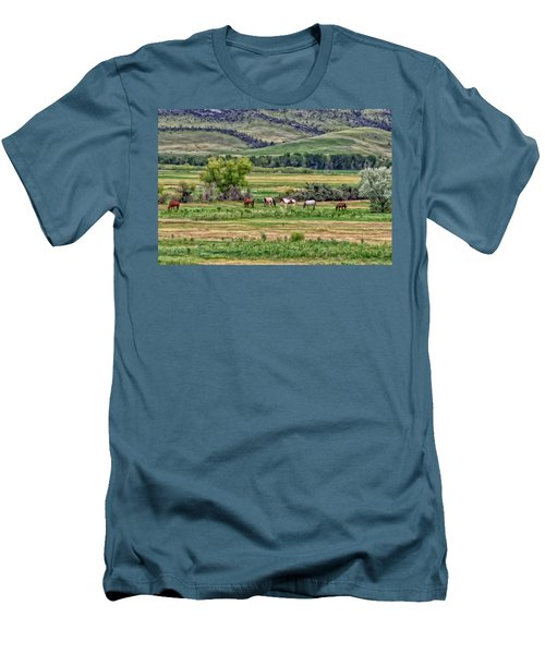 Men's T-Shirt (Slim Fit) featuring the painting K G Ranch by Michael Pickett