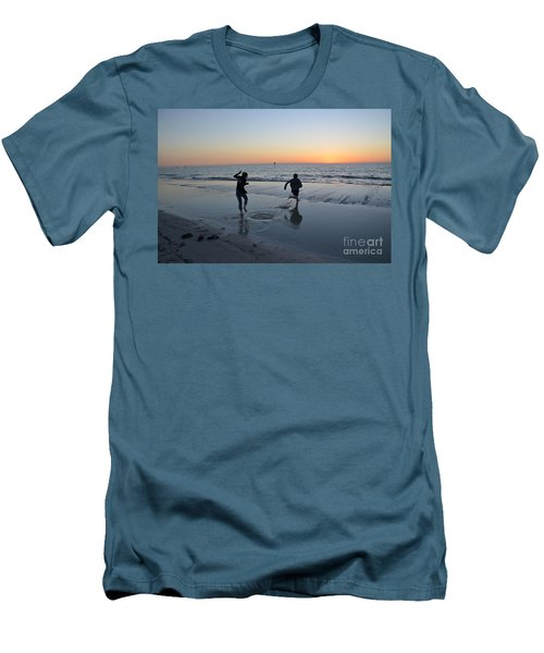 Men's T-Shirt (Slim Fit) featuring the photograph Kids At The Beach by Robert Meanor