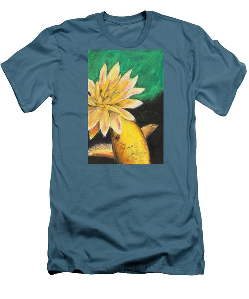 Men's T-Shirt (Slim Fit) featuring the painting Koi And The Lotus Flower by Jeanne Fischer