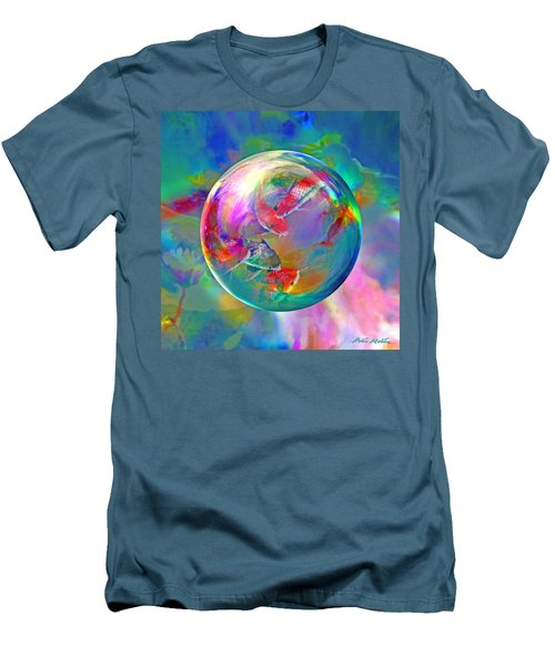 Men's T-Shirt (Slim Fit) featuring the digital art Koi Pond In The Round by Robin Moline