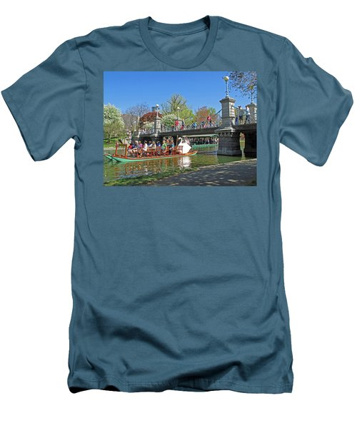 Men's T-Shirt (Slim Fit) featuring the photograph Lagoon Bridge And Swan Boat by Barbara McDevitt