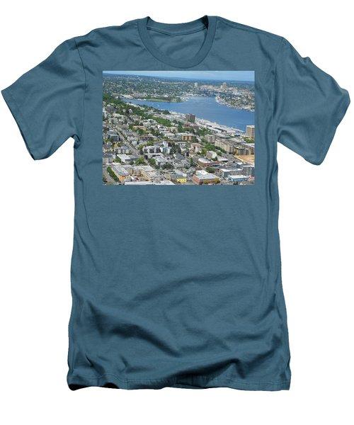 Lake Union Panorama Men's T-Shirt (Slim Fit) by David Trotter