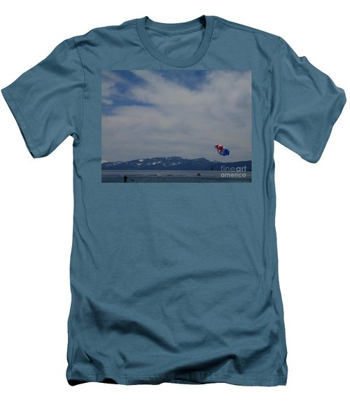 Men's T-Shirt (Slim Fit) featuring the photograph Parasail Landing by Bobbee Rickard