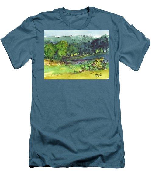 Landscape Lakeway Texas Watercolor Painting By Kmcelwaine Men's T-Shirt (Athletic Fit)