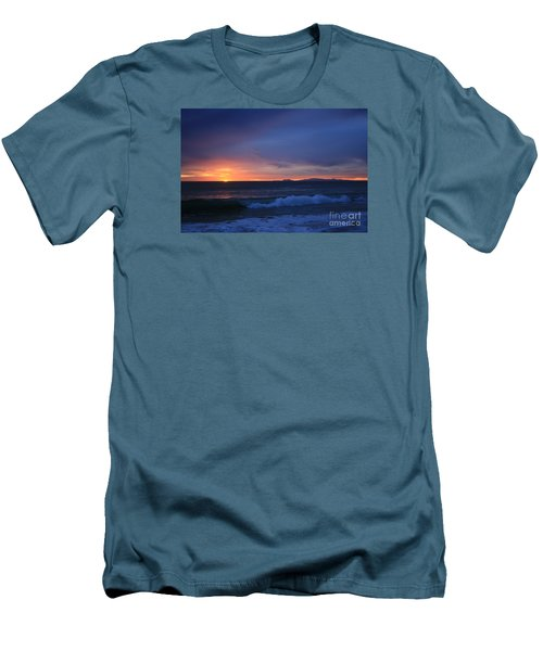 Men's T-Shirt (Slim Fit) featuring the photograph Last Ray Of Sunlight At Pt Mugu With Wave by Ian Donley