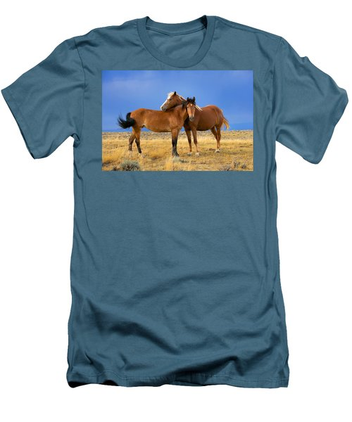 Lean On Me Wild Mustang Men's T-Shirt (Athletic Fit)