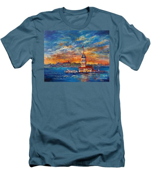 Men's T-Shirt (Slim Fit) featuring the painting Leanders Tower  Istanbul by Lou Ann Bagnall