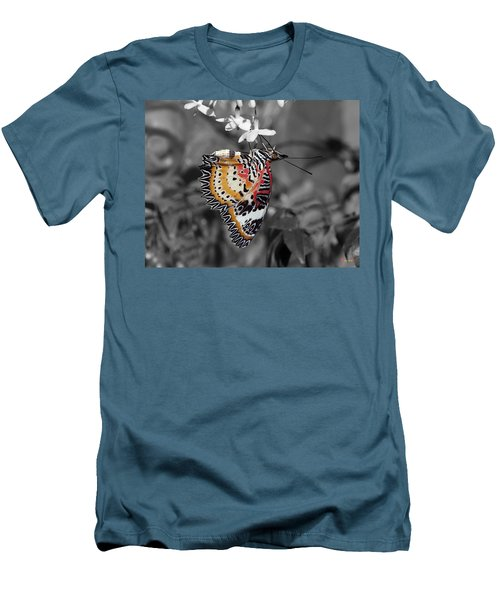 Men's T-Shirt (Slim Fit) featuring the photograph Leopard Lacewing Butterfly Dthu619bw by Gerry Gantt