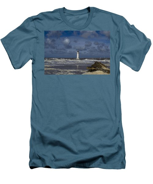 lighthouse at New Brighton Men's T-Shirt (Slim Fit) by Spikey Mouse Photography