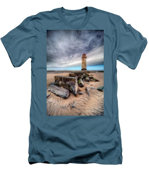 Lighthouse At Talacre  Men's T-Shirt (Slim Fit) by Adrian Evans