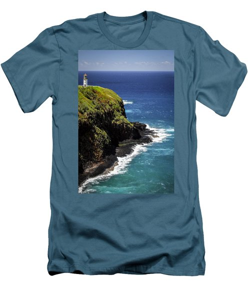 Men's T-Shirt (Slim Fit) featuring the photograph Lighthouse By The Pacific by Debbie Karnes