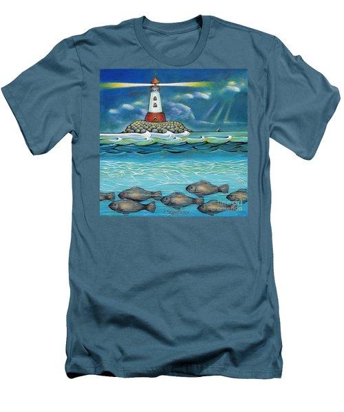 Lighthouse Fish 030414 Men's T-Shirt (Slim Fit) by Selena Boron