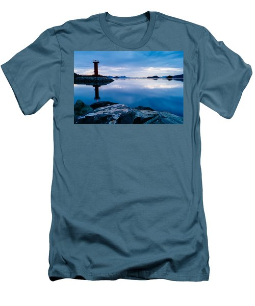 Lighthouse On Blue Men's T-Shirt (Athletic Fit)