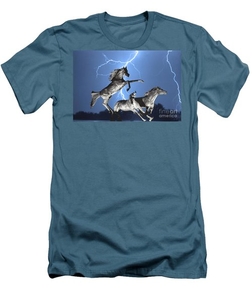 Lightning At Horse World Bw Color Print Men's T-Shirt (Slim Fit) by James BO  Insogna