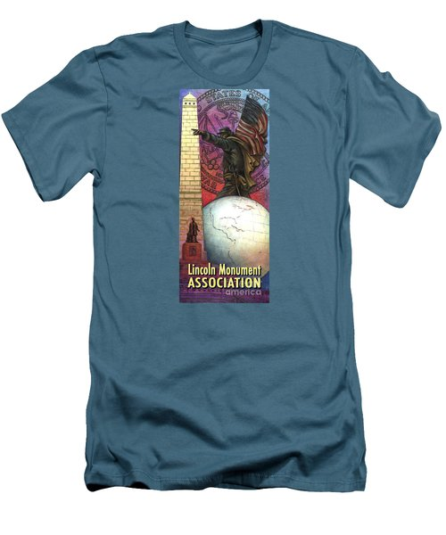 Men's T-Shirt (Athletic Fit) featuring the painting Lincoln Monuments Street Banners Civil War Flag Bearer by Jane Bucci