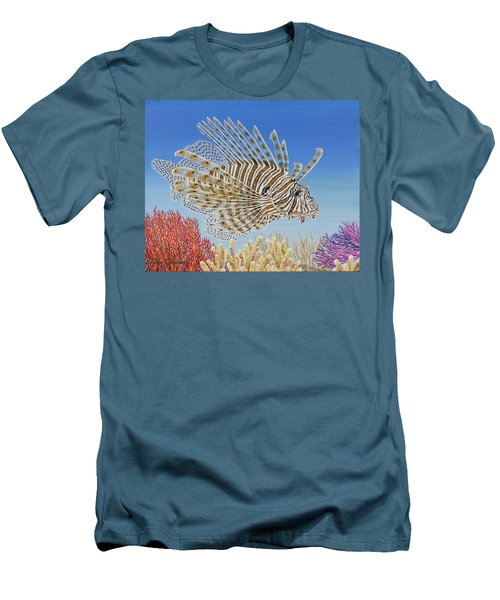 Men's T-Shirt (Slim Fit) featuring the painting Lionfish And Coral by Jane Girardot
