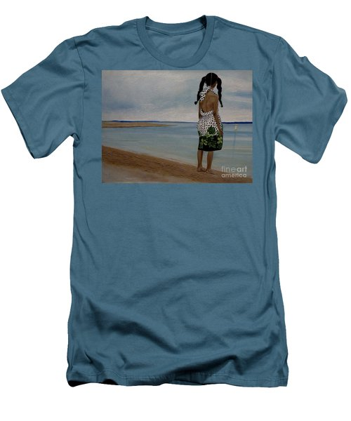 Little Girl On The Beach Men's T-Shirt (Slim Fit)