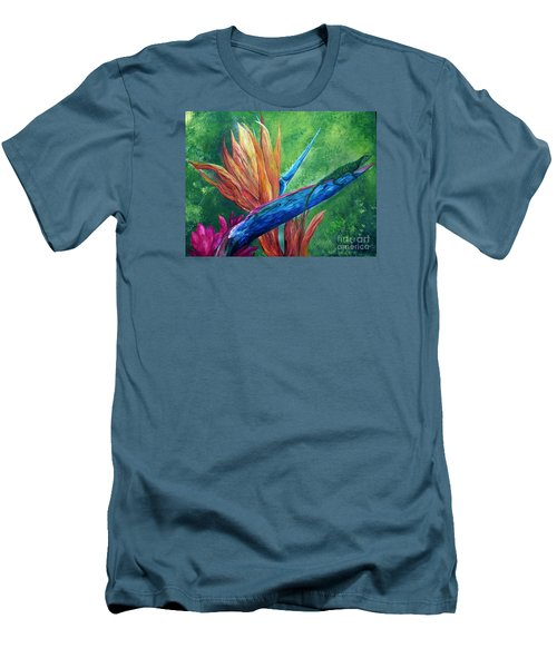 Men's T-Shirt (Slim Fit) featuring the painting Lizard On Bird Of Paradise by Eloise Schneider