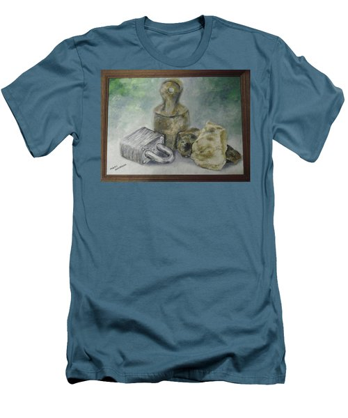 Men's T-Shirt (Slim Fit) featuring the painting Locked And Anchored by Mary Ellen Anderson