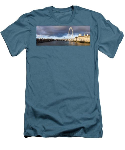 London Eye At South Bank, Thames River Men's T-Shirt (Slim Fit) by Panoramic Images