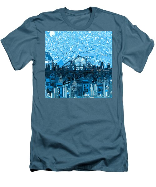 London Skyline Abstract Blue Men's T-Shirt (Athletic Fit)