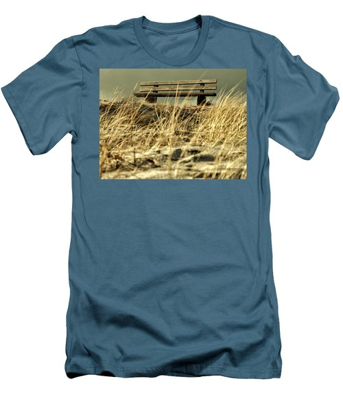 Lonely Bench Men's T-Shirt (Slim Fit) by Mike Santis