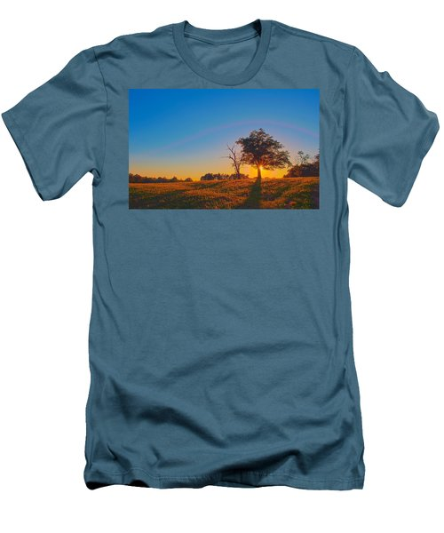 Men's T-Shirt (Slim Fit) featuring the photograph Lonely Tree On Farmland At Sunset by Alex Grichenko