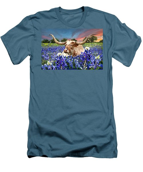 Longhorn In Bluebonnets Men's T-Shirt (Slim Fit)
