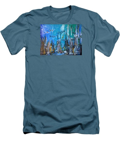Men's T-Shirt (Slim Fit) featuring the painting Lost City by Arturas Slapsys