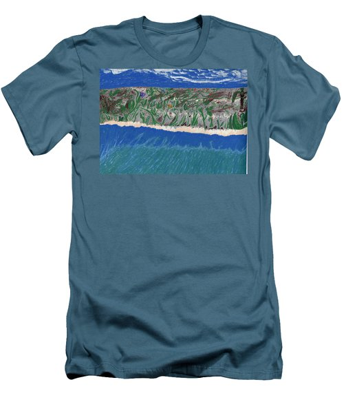 Men's T-Shirt (Slim Fit) featuring the painting Lost Island by Kim Pate