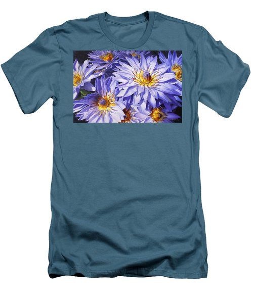 Lotus Light - Hawaiian Tropical Floral Men's T-Shirt (Slim Fit) by Karen Whitworth