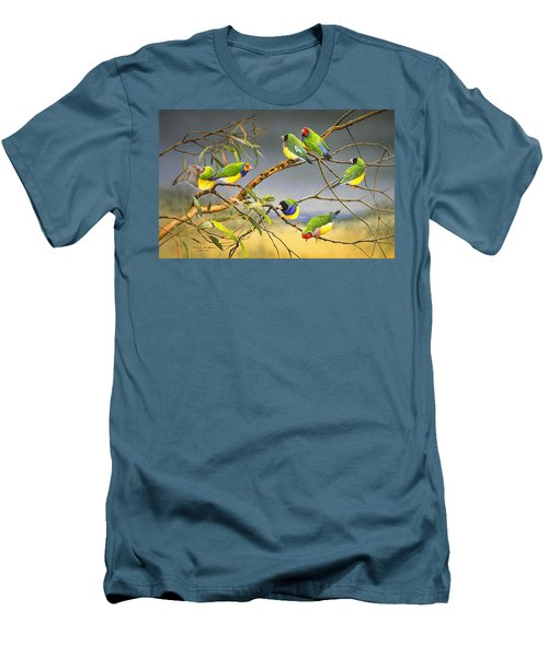 Lucky Seven - Gouldian Finches Men's T-Shirt (Athletic Fit)