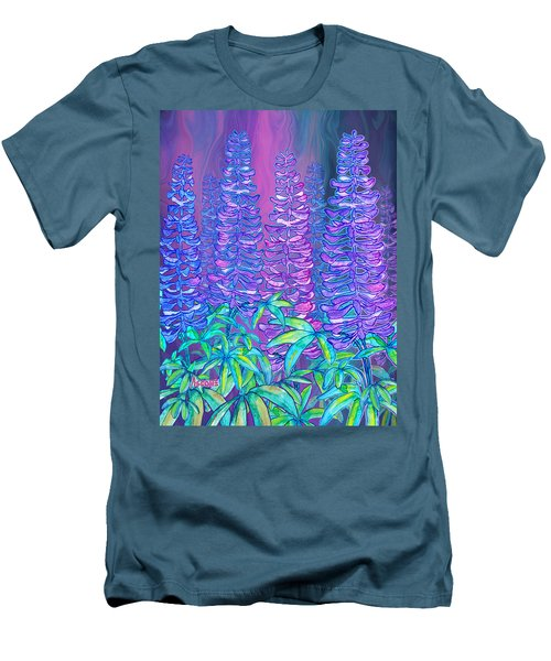 Men's T-Shirt (Slim Fit) featuring the mixed media Lupines by Teresa Ascone