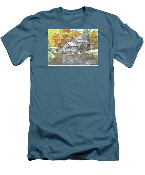 Men's T-Shirt (Slim Fit) featuring the painting Mabry Grist Mill In Virginia Usa by Carol Wisniewski