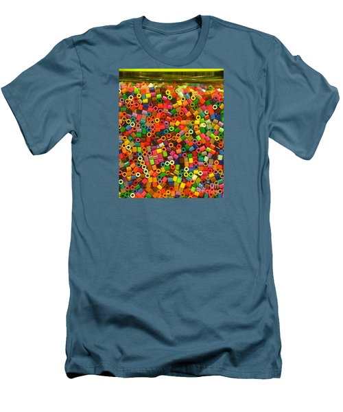 Macaroni Beads Men's T-Shirt (Slim Fit) by Ranjini Kandasamy