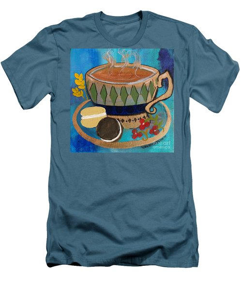 Men's T-Shirt (Slim Fit) featuring the painting Macaroons And Tea by Robin Maria Pedrero