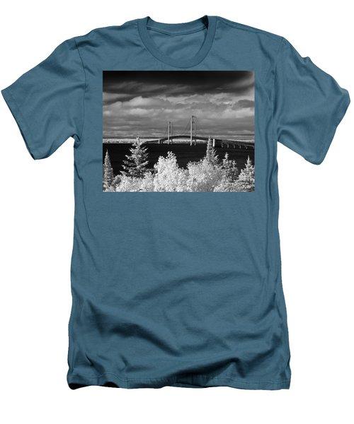 Macinac Bridge - Infrared Men's T-Shirt (Athletic Fit)