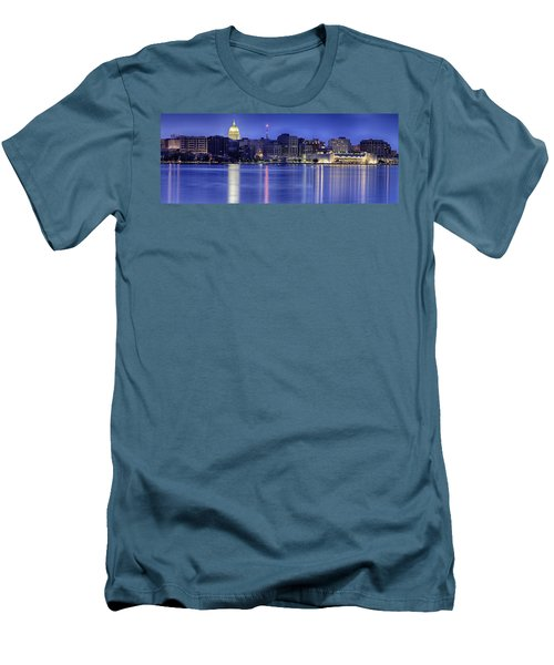 Men's T-Shirt (Slim Fit) featuring the photograph Madison Skyline Reflection by Sebastian Musial