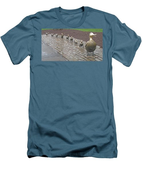 Men's T-Shirt (Slim Fit) featuring the photograph Make Way For Ducklings by Barbara McDevitt